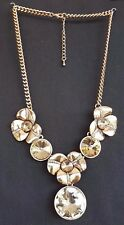 Golden Topaz Crystal Stones Flower With Gold Diamante Detail Necklace UK SELLER