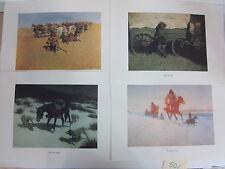 Set of 4 Frederic Remington Color Reproductions Prints Art Western Folio Cowboys