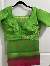 Pure Banaras Pattu Saree With Readymade Banaras Fabric Green Color Stitched
