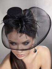 Black Veils Silk Fishing-Net Hat Feather Headpieces Dress Up Cocktail Fascinator