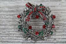 Multi Coloured Rhinestone Crystal Christmas Wreath Silver Pin Brooch