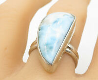 925 Sterling Silver - Smooth Larimar Modernist Shaped Cocktail Ring Sz 9 - R9736