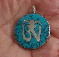 Amulet Tibetan OM Mantra Sterling Silver &Turquoise Pendant
