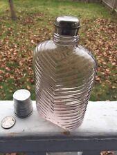 Antique Herringbone Flask Chrome Lid & Shot Top Ground Lip Amythest Color