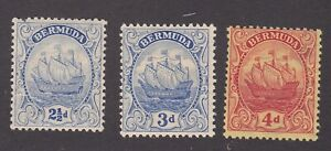 Bermuda 1922-34 Mint MH Definitives Caravel wmk Script SG82-3 & 85