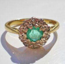 """Antico Periodo edoardiano 18 KT Oro Smeraldo & Anello Di Diamanti Cluster c1910; Uk Taglia """"L"""""""