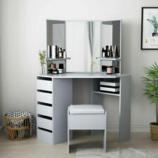 Modern Grey Dressing Table Desk Dresser 5 Drawers Make Up Jewellery Stool Set UK