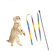 Rainbow Cloth Ribbon Tease Cats Rod Pets Kitten Interactive Scratching Toys 1pc