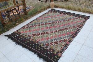 """Vintage Handmade Turkish Large Area Kilim Rug 7'6""""x5'5"""""""