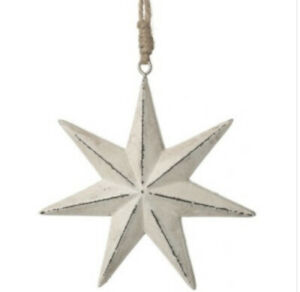Small Chunky Seven Point Distressed White Wood Star Jute Hanger 11cm