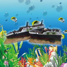 Heritage Aquarium Fish Tank Large Warship Boat Ship Wreck Ornanent 40cm