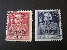 "*ERITREA, SCOTT # 91/92(2), VICTOR EMMANUEL ITALIAN STAMPS ""ERITREA""  ISSUE USED"