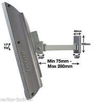 "BT7512 10-23"" LED LCD PANEL TV SINGLE ARM TILT & SWIVEL WALL MOUNT SILVER FINISH"