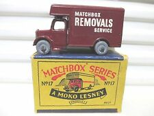 Lesney Matchbox Rare 1956 RW17A Maroon BEDFORD Removals Van Nr Mint in MOKO Box