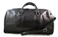 Borsone uomo donna borsa viaggio con manici e tracolla nero vera pelle
