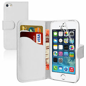 WHITE Wallets leathe Plain Case Cover with Card Slots&clip for Apple iPhone 4/4S