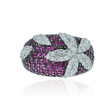 Roberto Coin 18k White Gold Pink Sapphire & Diamond Ring