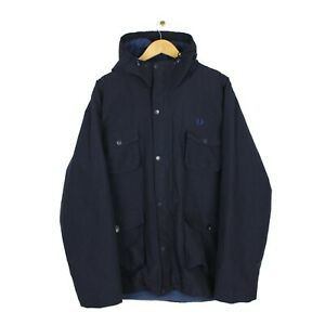 Fred Perry Mens Navy Blue Hooded Parka Fleece Lined Jacket 80s Casuals - XL