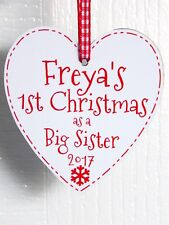 Personalised First Christmas As A Big Sister Heart / 1st Xmas Tree Decoration