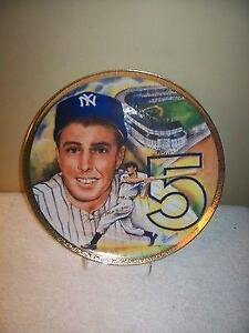 Joe DiMaggio New York Yankees Marigold Autographed 10 Inch Plate