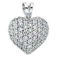 """14K White Gold 0.45 Ct Diamond Pave Puffed Heart Pendant for Necklace 1/2"""" 2.1gr"""