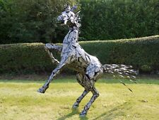 Silver Black Rearing Horse 125 cm Home/Garden Art Statue Ornament Sculpture