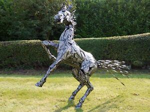 Silver Black Rearing Horse 125 cm Home/Garden Art Statue Ornament Sculpture
