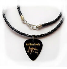 "5SOS ASHTON IRWIN Guitar Picks signature gold stamped 20"" leather NECKLACE"