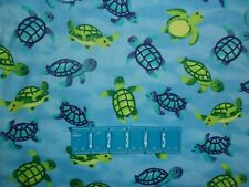 FLANNEL Swimming Turtles Ocean Blue Quilting Crafting  FLANNEL Cotton Fabric