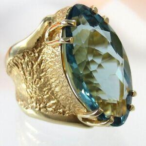 B200 Unikat XL Ring 925 Silber Gelbgold vergol. mit Quarz Stein Handarbeit Gr.61