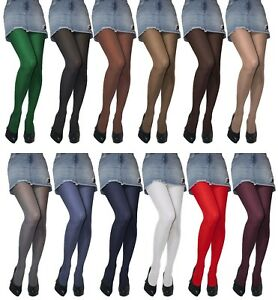 Womens Opaque 60 or 40 Denier Microfibre Tights size S - XL New