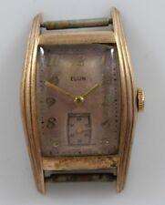 Vintage 1943 Elgin Hand Wind 15 Jewels Cal.554 Men's Wrist Watch Running lot.d1