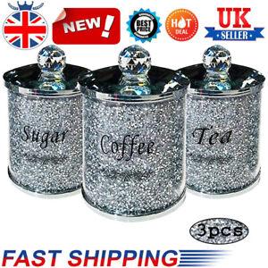 Set of 3 Shiny Glass Storage Jar Coffee Sugar Tea Storage Container Jars w/ Tray