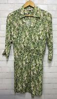 Cabi Womans Sz Medium Style 280 Leaf Print Dress Faux Wrap Tropical Multi Color