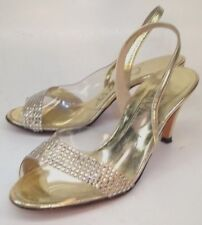 A'mano Wos Heels Slingbacks US 4.5 Gold Leather Clear Bling Bridal Wedding 46