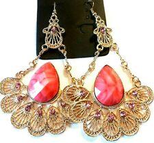 jolies boucles d/'oreilles pierres et strass multicolor et métal doré,sans nickel