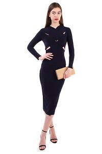 KAMALIKULTURE x NORMA KAMALI Bodycon Dress Size XS Unlined Exposed Seam Cut Out