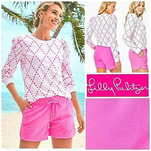 NWT Lilly Pulitzer Kylar Knit Shorts LG, XL in Prosecco Pink Poly Terry Cloth