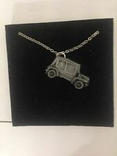 "Mini Moke SE ref148 Car Emblem on Silver Platinum Plated Necklace 18"""