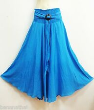 PEASANT BOHO CASUAL LONG SKIRT COTTON SOLID BLUE COCONUT SMOCKED SUMMER S M L XL