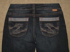 Silver Jeans Size 27 Aiko Flare Stretch Denim Dark Blue Womens Jeans L = 24.5