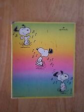 Vintage 1958 Peanuts Snoopy stationary box, 6 sheets of paper, green yellow pink