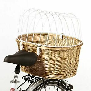 Rear mounted Pet Dog carrier for Bike Bicycle wicker Basket with Protective Wire