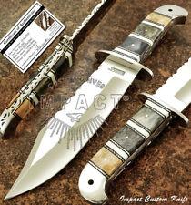IMPACT CUTLERY RARE CUSTOM D2 FULL TANG BOWIE KNIFE CAMEL BONE HANDLE