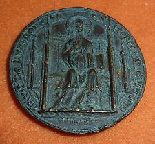 Mittelalter Siegel (?) Bronze Medaille 51 mm 85,8 gr. Heiliger mit Foliant Bibel