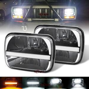 "Pair 105W 5x7"" 7x6 Led Halo Headlight Hi/Lo Beam Bulb for Jeep Cherokee XJ Chevy"