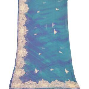 Sanskriti Vintage Dupatta Long Stole Pure Cotton Cream Embroidered Wrap Scarves