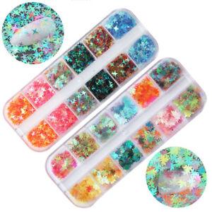 Nail Sequins Maple Leaf Irregular Flakes Nail Decoration Mirror Glitter Foil DIY