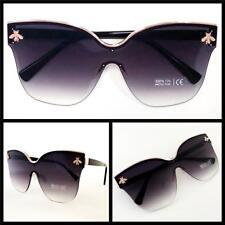 Oversized Classy Retro Exotic Cat Eye Style Sun Glasses Rose Gold & Black Frame