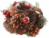Single Natural Pinecone Gold Glitter Christmas Tealight Candle Holder 16cm